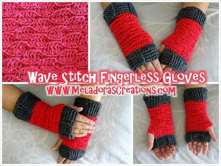 crochet wave stitch fingerless glovers