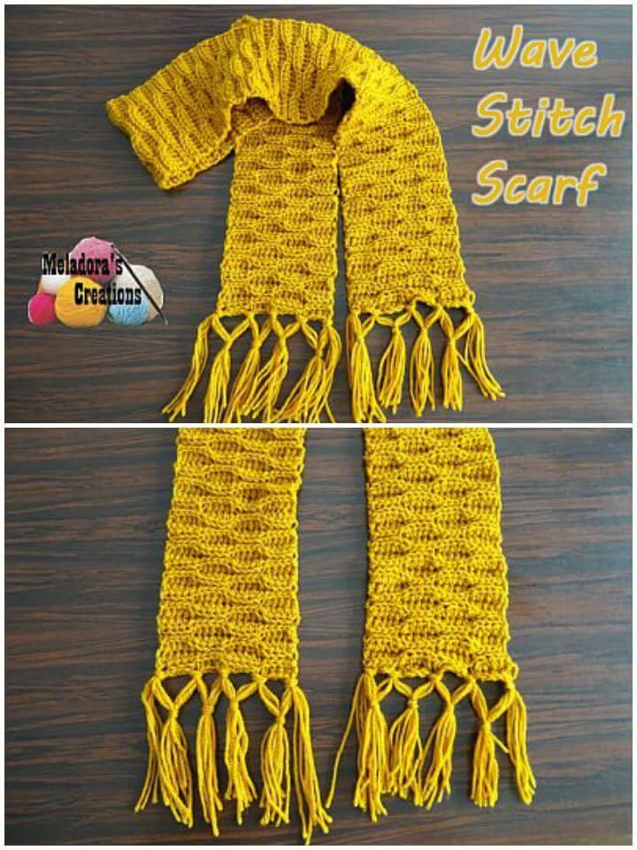easy crochet wave stitch scarf free pattern