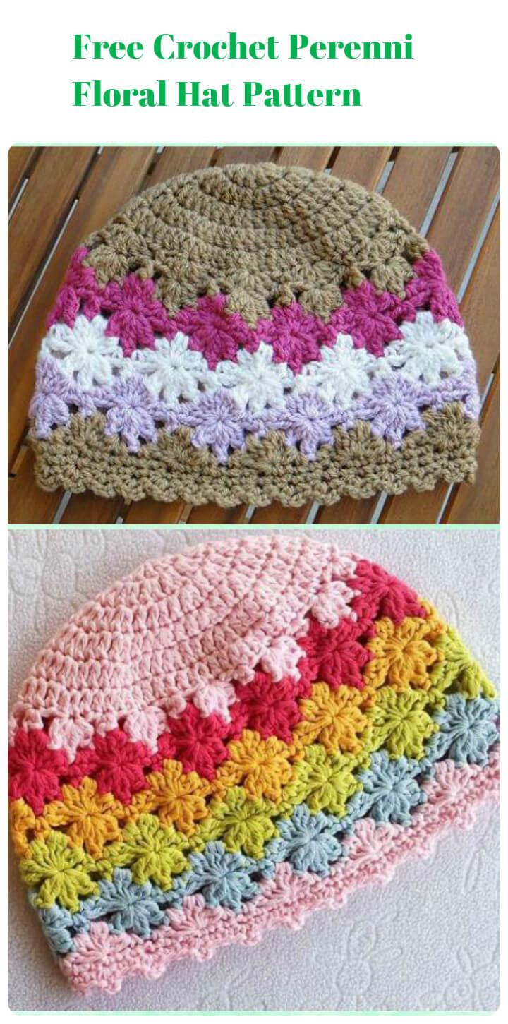 free crochet perenni floral hat pattern
