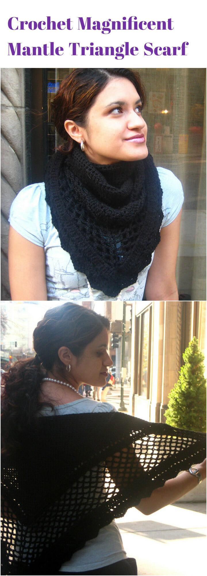 free crochet magnificent mantle triangle scarf pattern