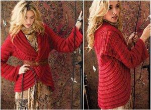 crochet red circle jacket