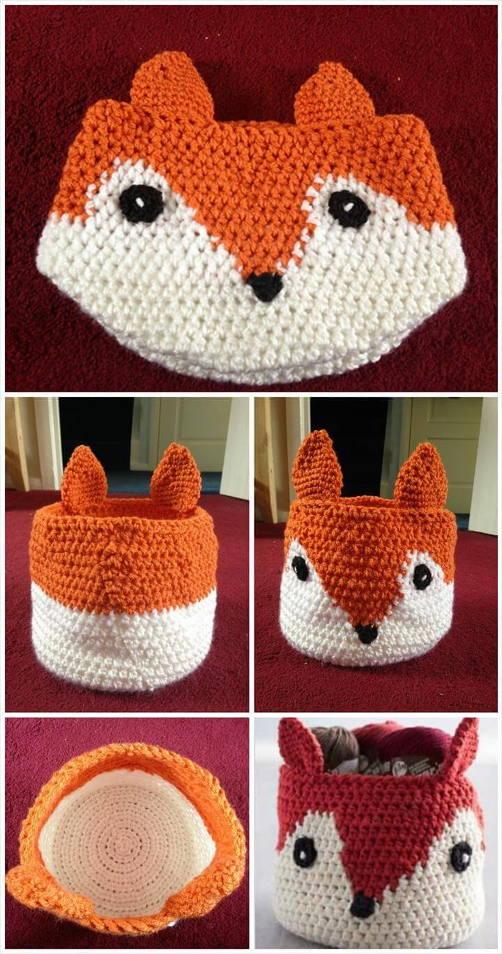 free crochet fox basket pattern