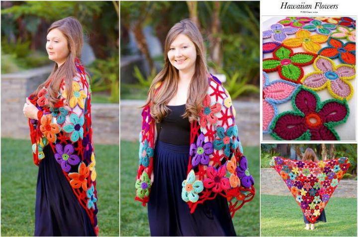 free crochet hawaiin flower shawl