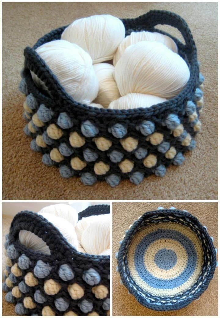 round crochet honeycomb basket