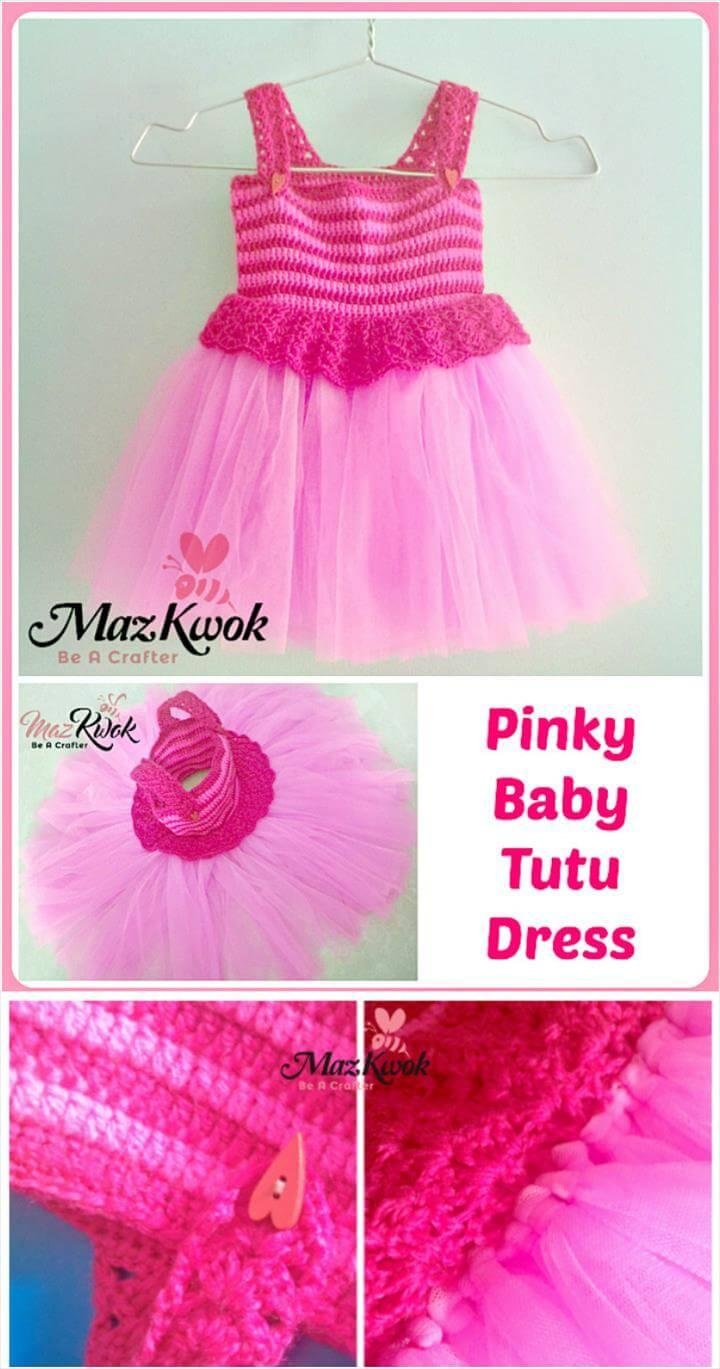 crochet pinky baby tutu dress