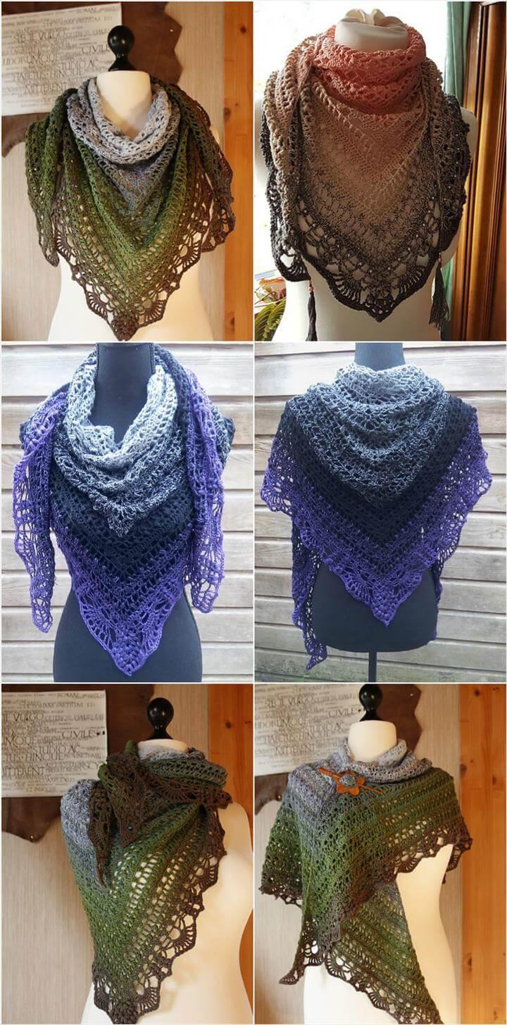 crochet schal quiraing popcorn stitch shawl pattern