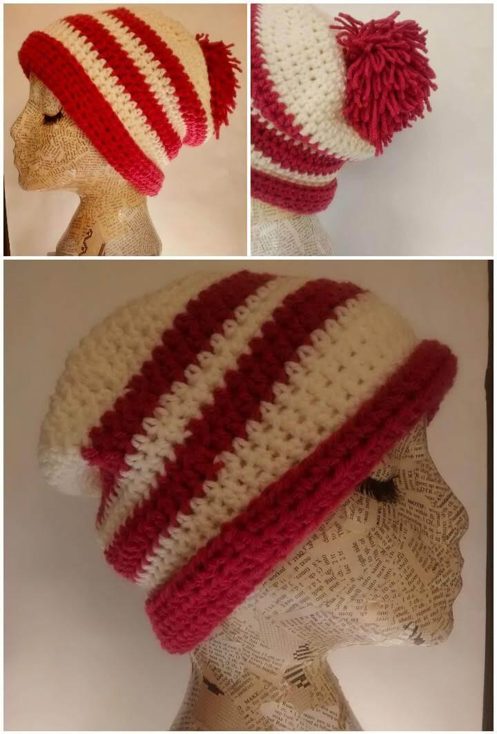 red and white stripe crochet hat pattern