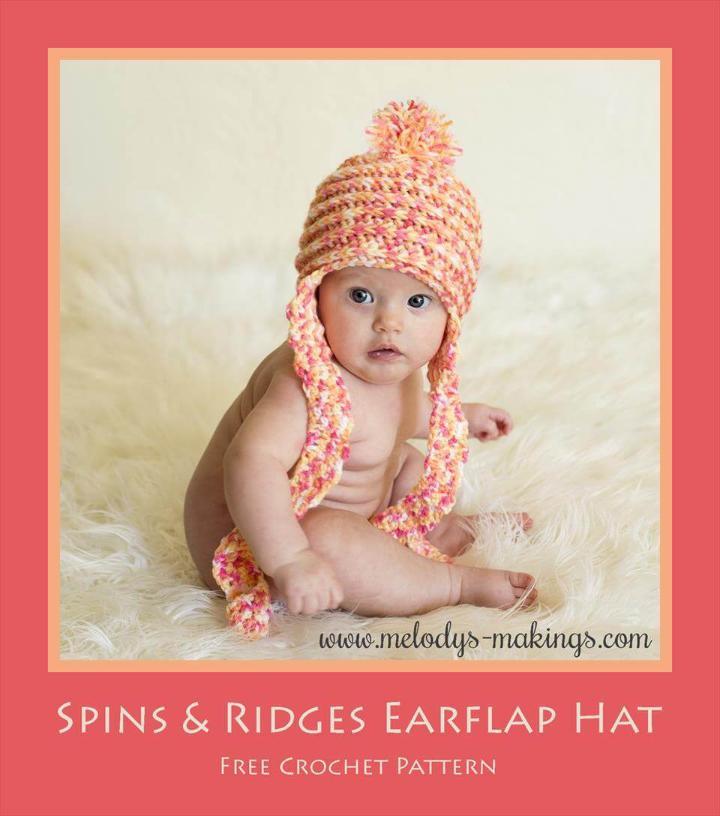 crochet spins and ridges crochet baby earflap hat