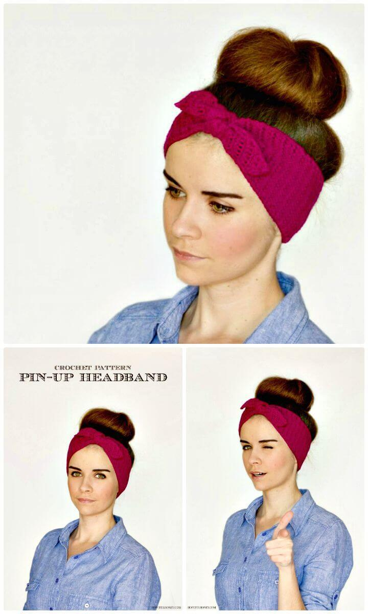 Adorable and Easy Free Crochet Retro Pin-up Headband Pattern