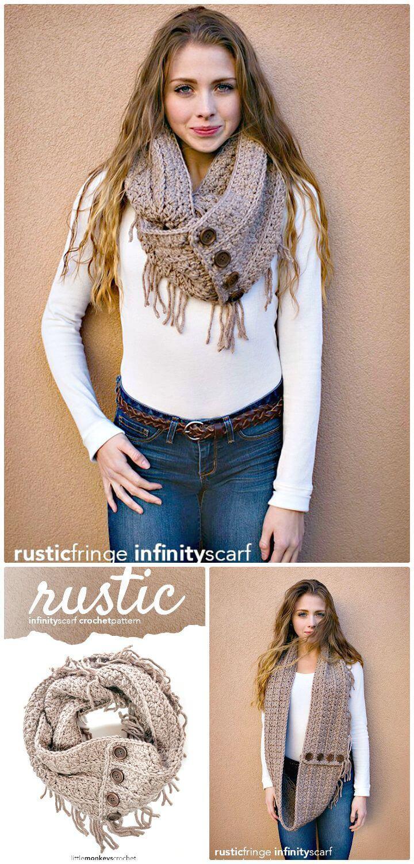 Adorable Free Crochet Rustic Fringe Infinity Scarf Pattern
