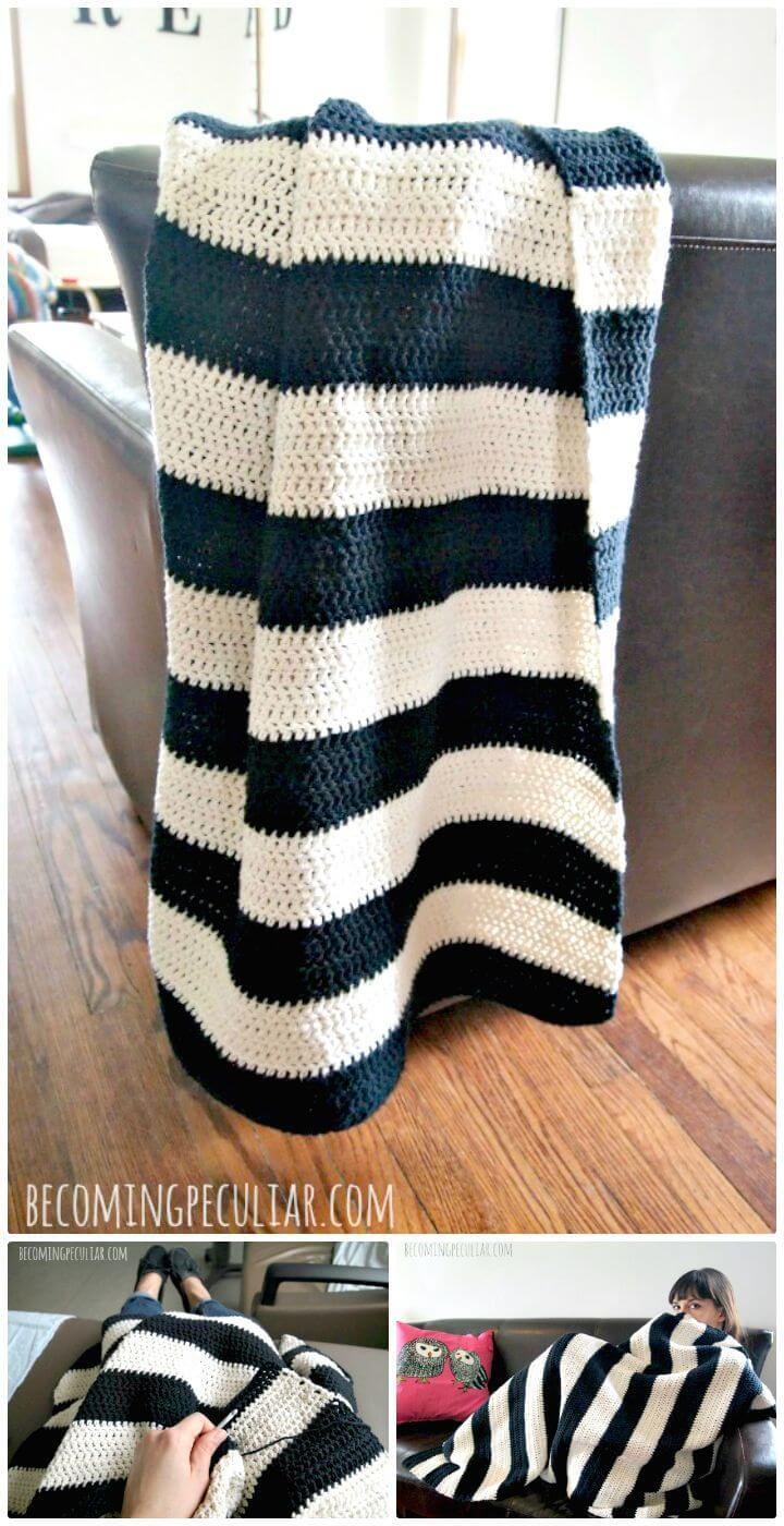 Super Easy Free Crochet Beginner's Striped Cotton Throw Blanket Pattern