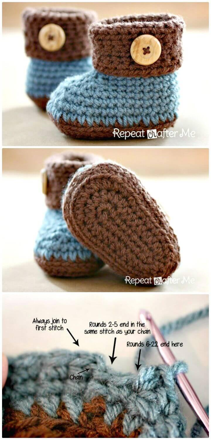 Easiest Free Crochet Cuffed Baby Booties Pattern