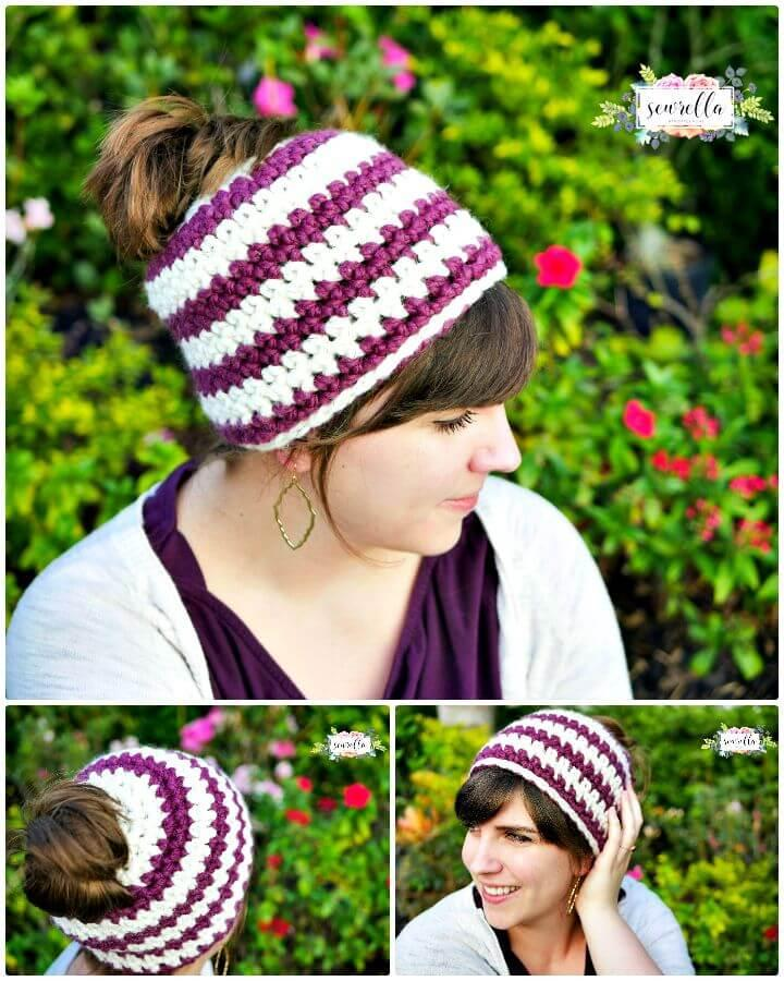 Easy How to Free Crochet Messy Bun Beanie In 1 Hour Pattern