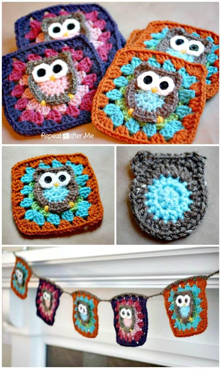 Easy How to Free Crochet Owl Granny Square Pattern