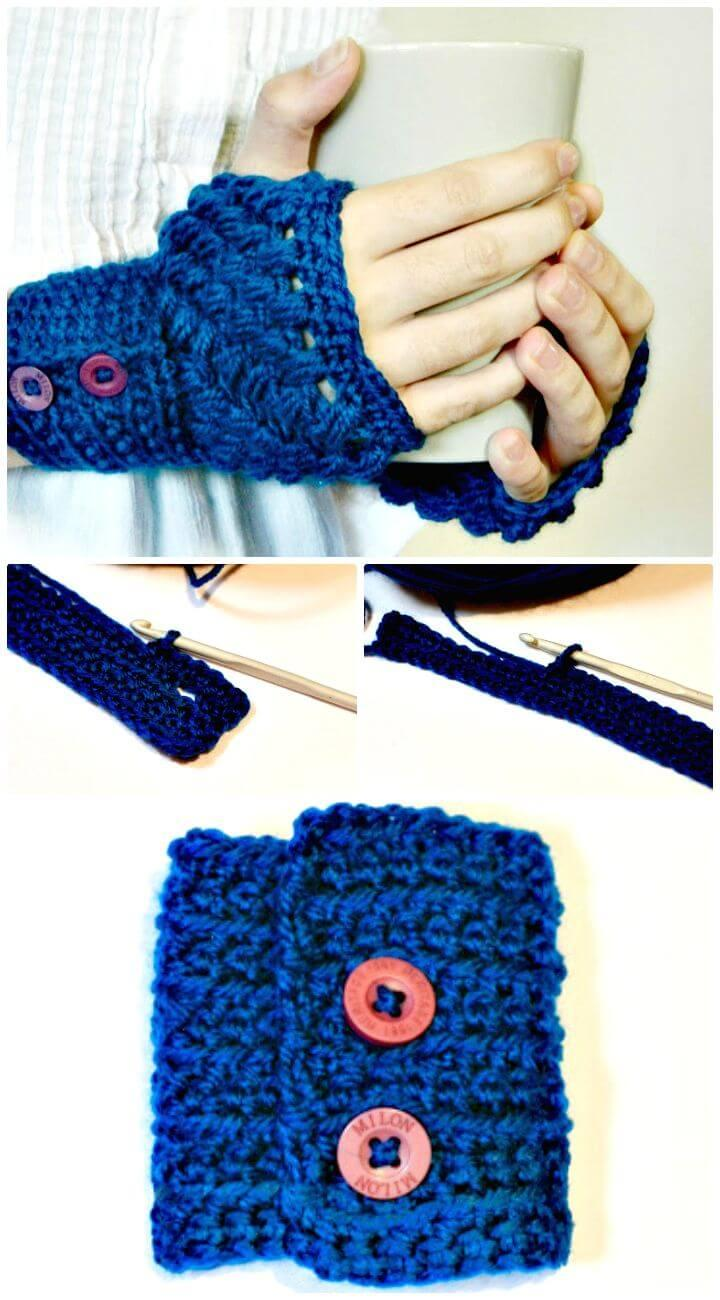 Easy Free Crochet Puff Stitch Fingerless Gloves Pattern