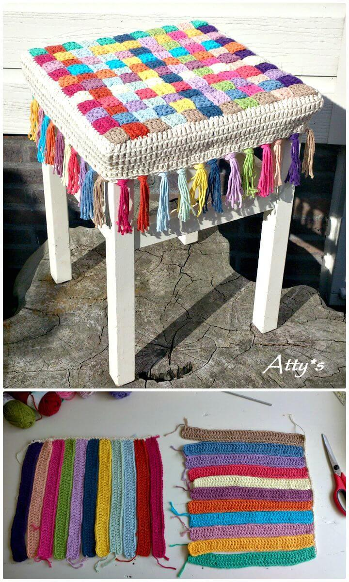 Easy How to Free Crochet Stool Cover Photo Pattern