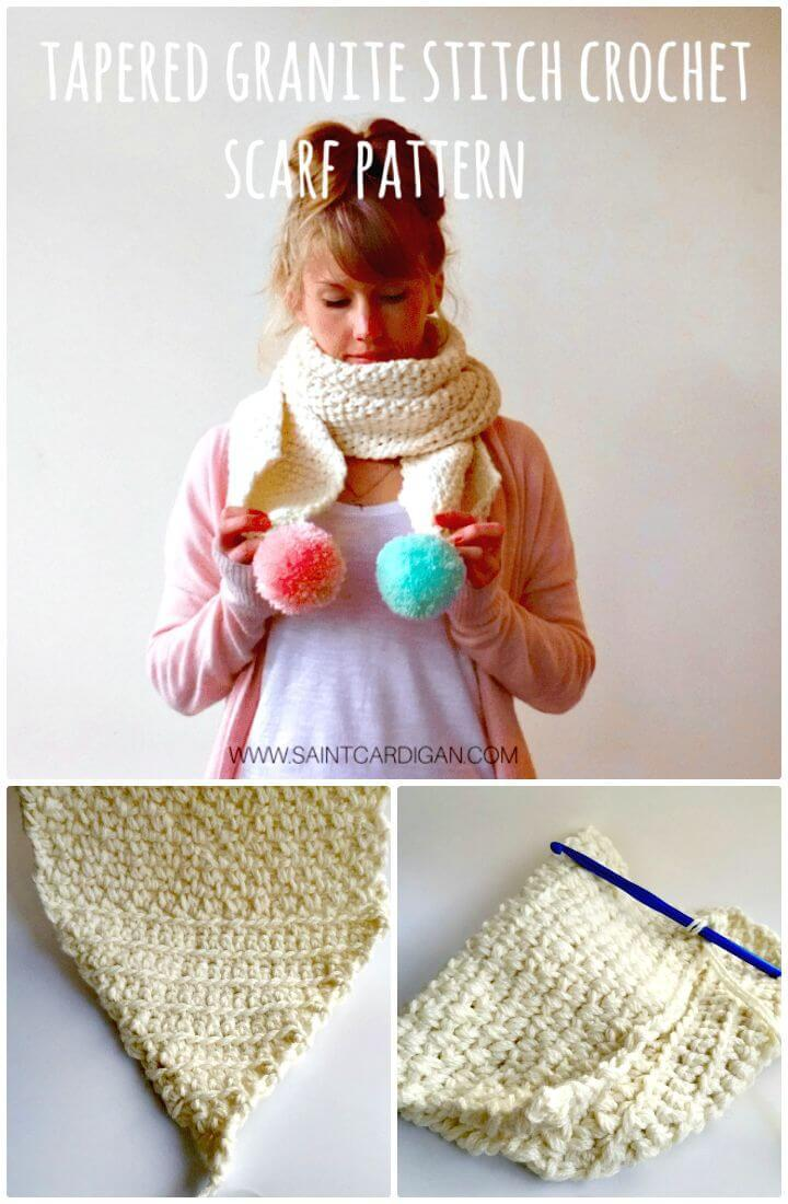 Easy How to Free Crochet Tapered Granite Stitch Scarf Pattern