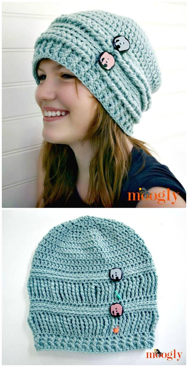 Easy Free Crochet Ups and Downs Slouchy Beanie Pattern
