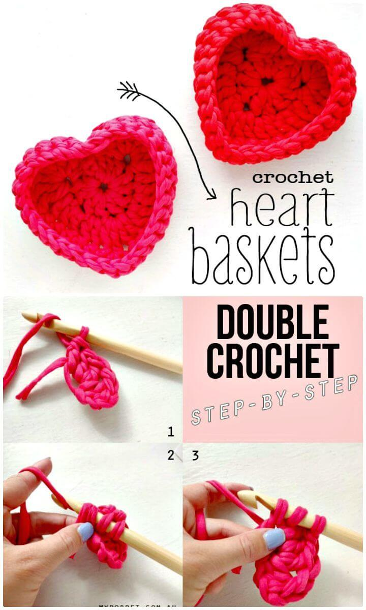 Easy How To Free Crochet Heart Shaped Storage Baskets Pattern