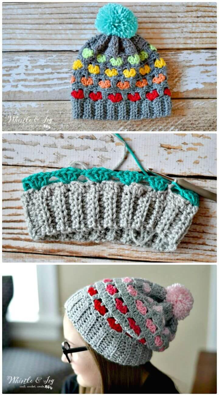 Easy How To Free Crochet Puppy Love Heart Slouchy Pattern