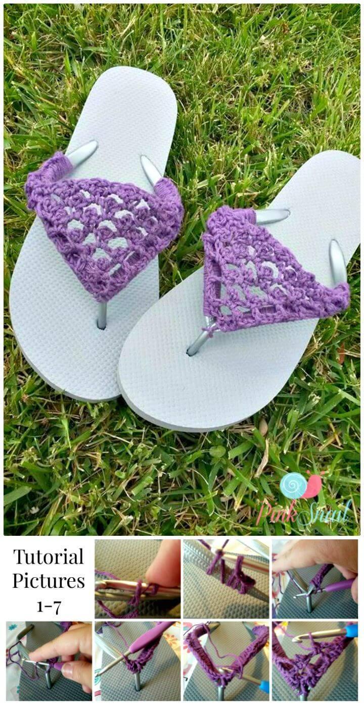 Easiest Free Crochet Peekaboo Picot Flip Flops Pattern