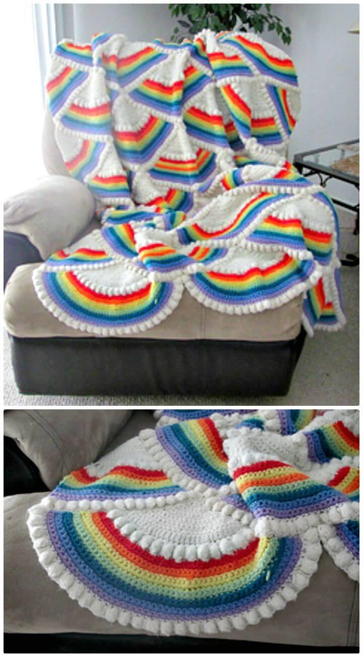 Easy Crochet Rainbow Afghan - Free Pattern