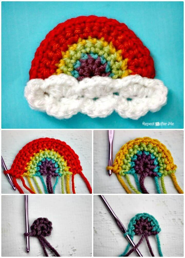 Easy How to Free Crochet Rainbow Applique Pattern
