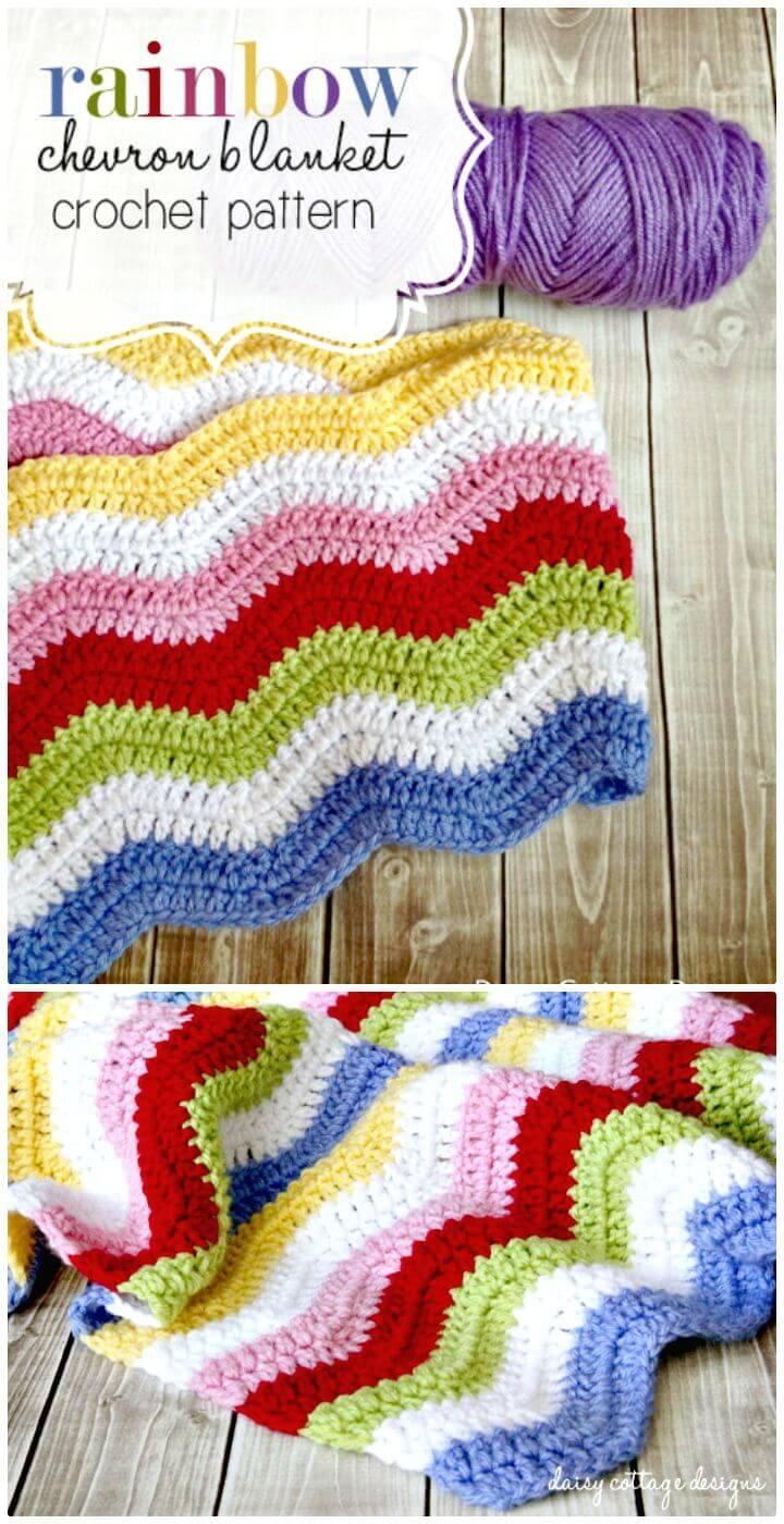 Easy Free Crochet Rainbow Chevron Blanket Pattern