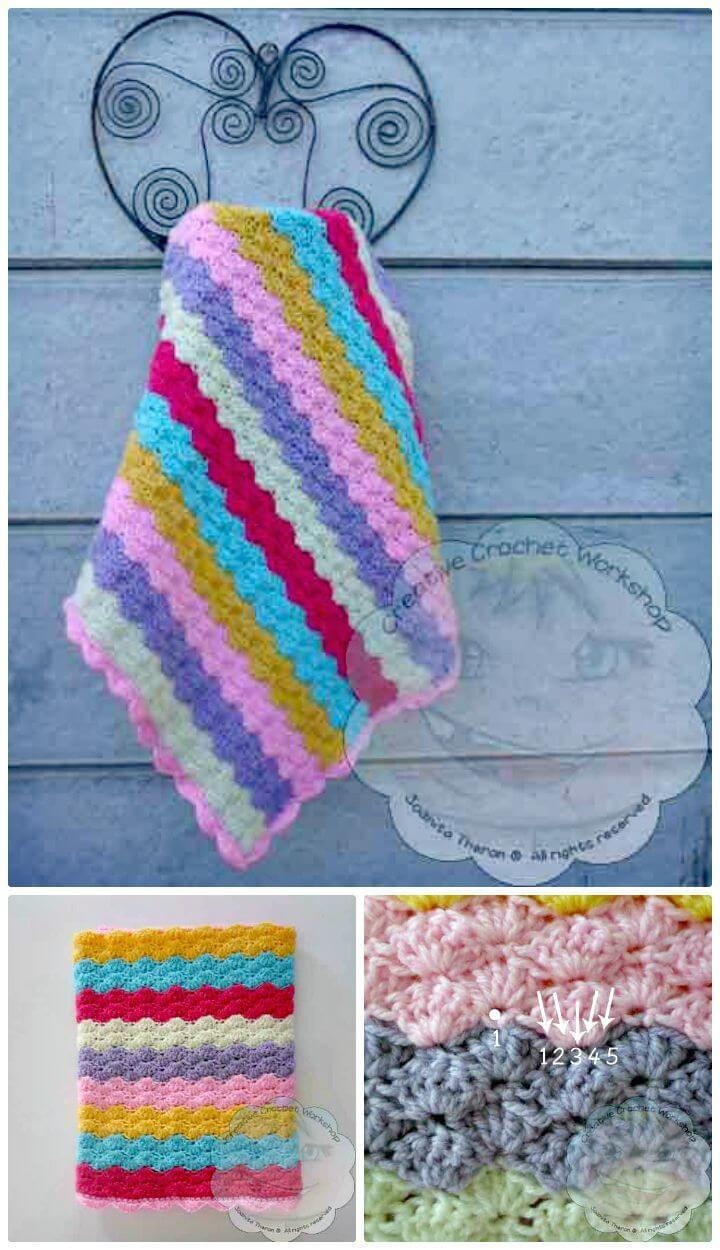 Easy How to Free Crochet Rainbow Shells Baby Blanket Pattern