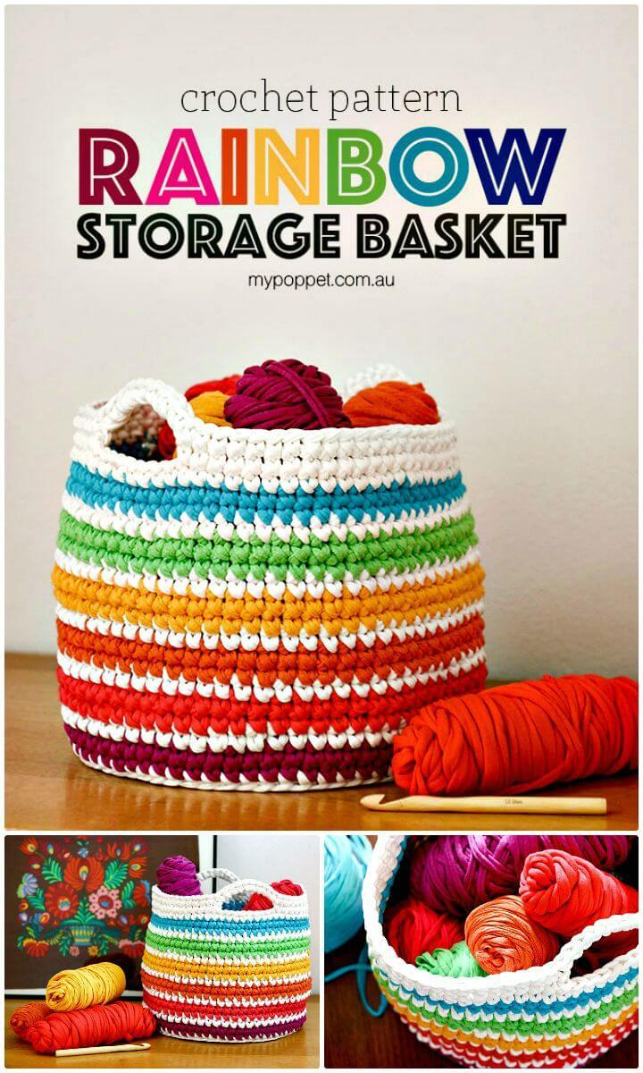 Easy How to Free Crochet Rainbow Storage Basket Pattern