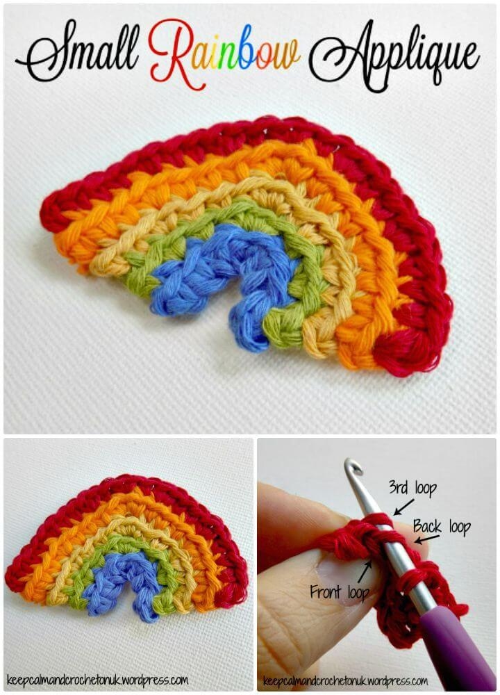 Easy How to Free Crochet Small Rainbow Applique Pattern