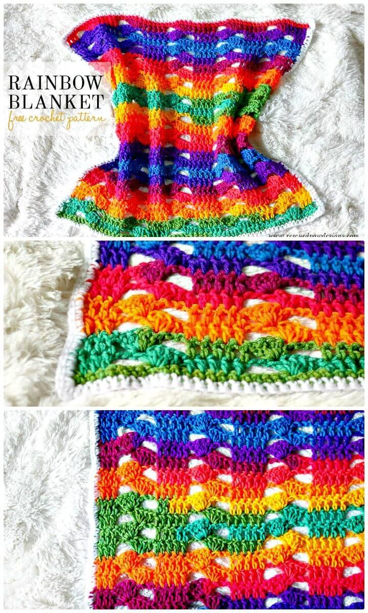 Super Easy Free Crochet Rainbow Blanket Pattern