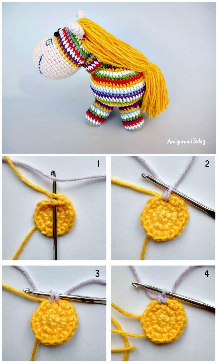 Easy Free Crochet Rainbow Pony Amigurumi Pattern