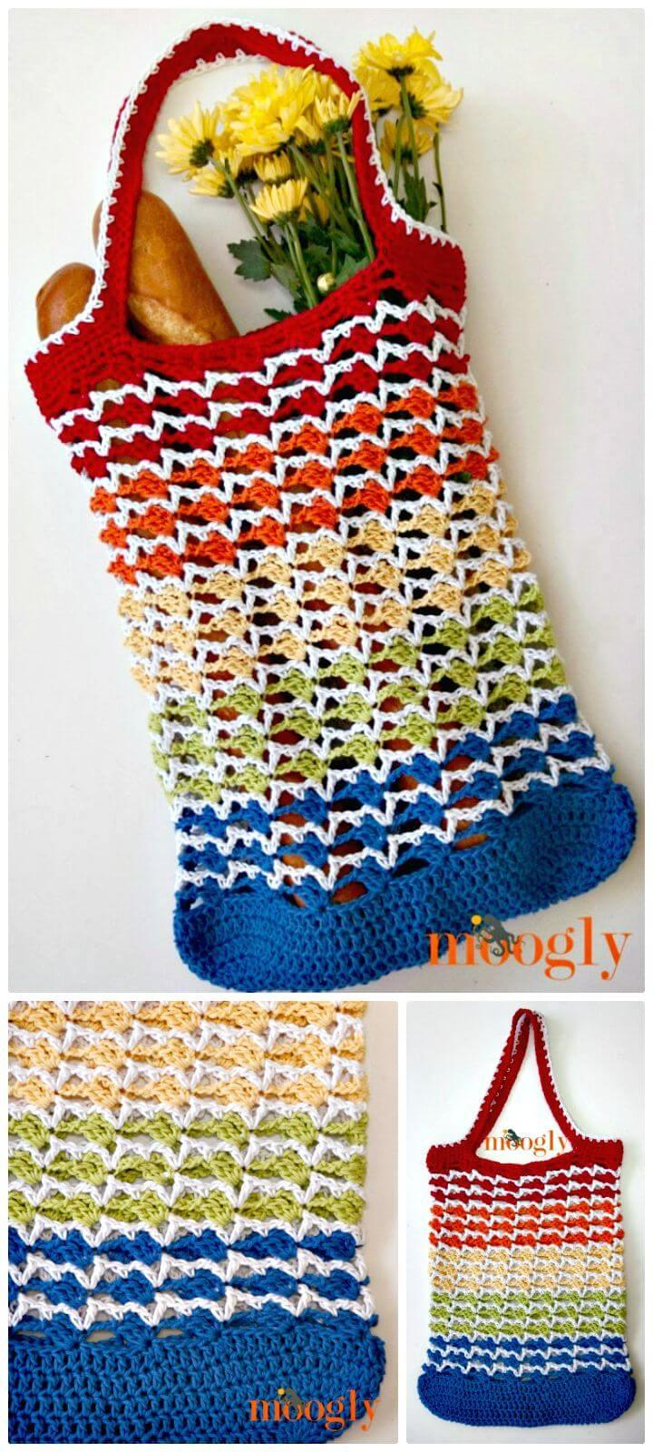 Easy How To Free Crochet Rainbow Runner Tote Bag Pattern