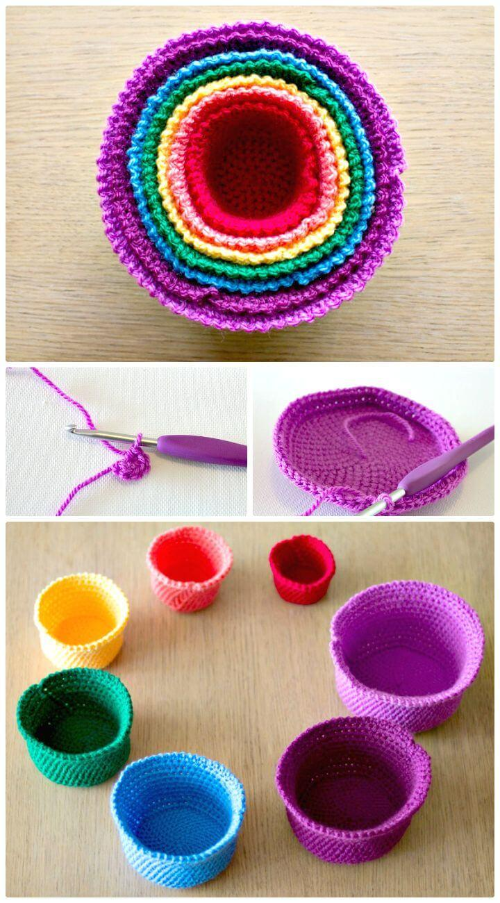 Easy Free Crochet Set of Rainbow Nesting Baskets Pattern