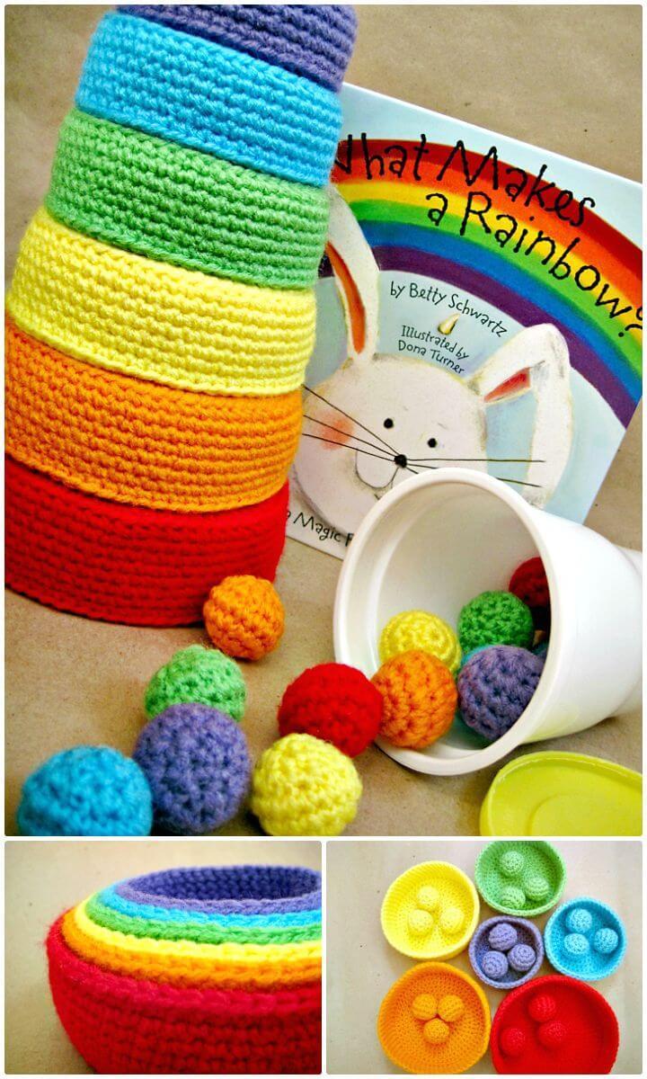 Easy Free Crochet Rainbow Nesting Bowls Pattern