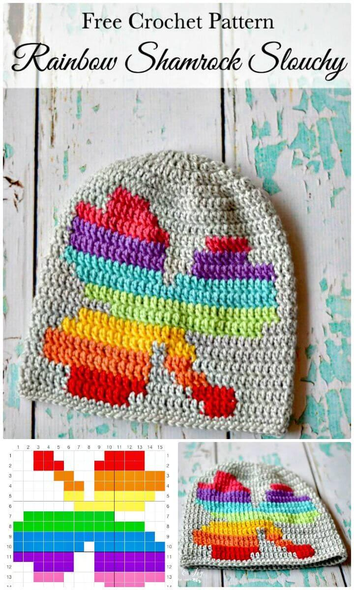 How to Free Crochet Women Rainbow Shamrock Slouchy Pattern