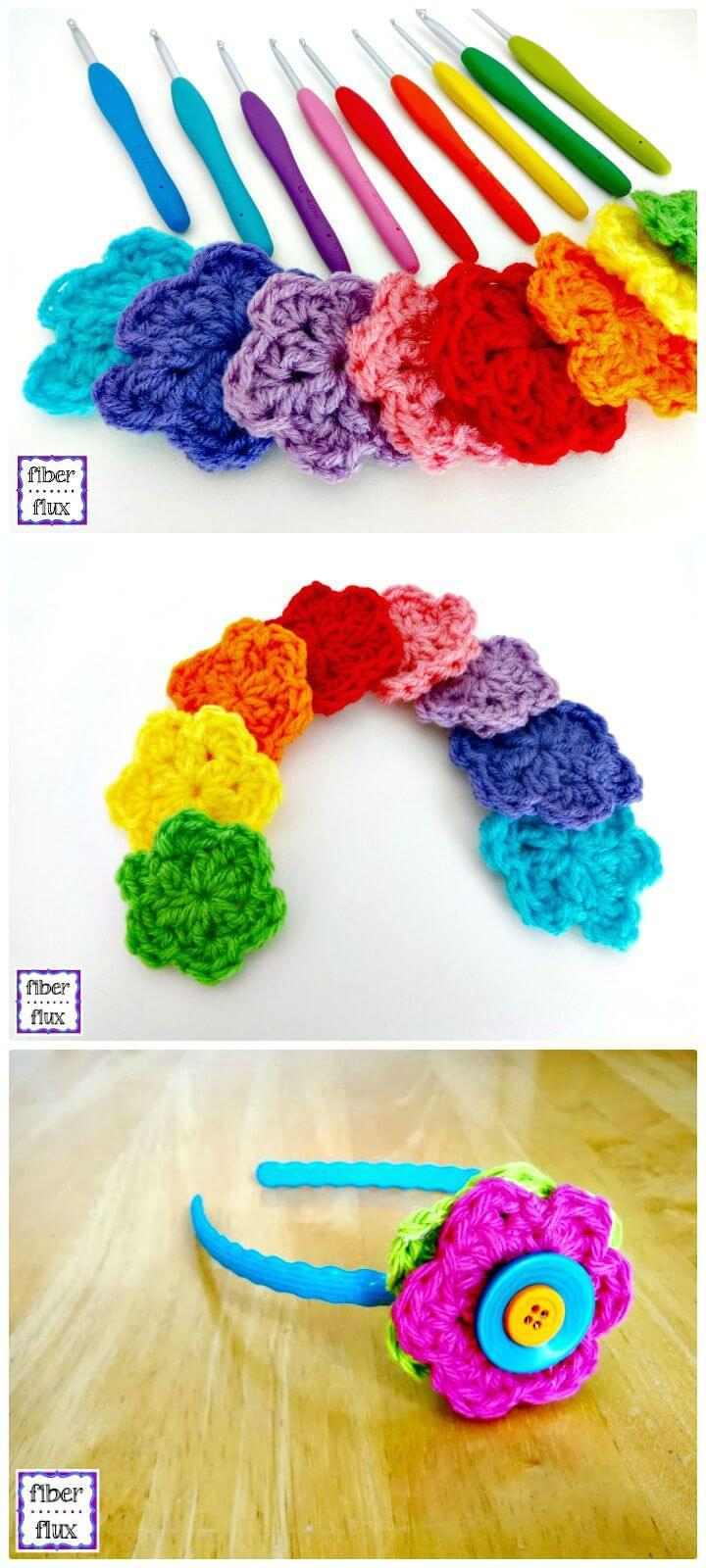 Simple and Easy Free Crochet Rainbow Blooms Pattern