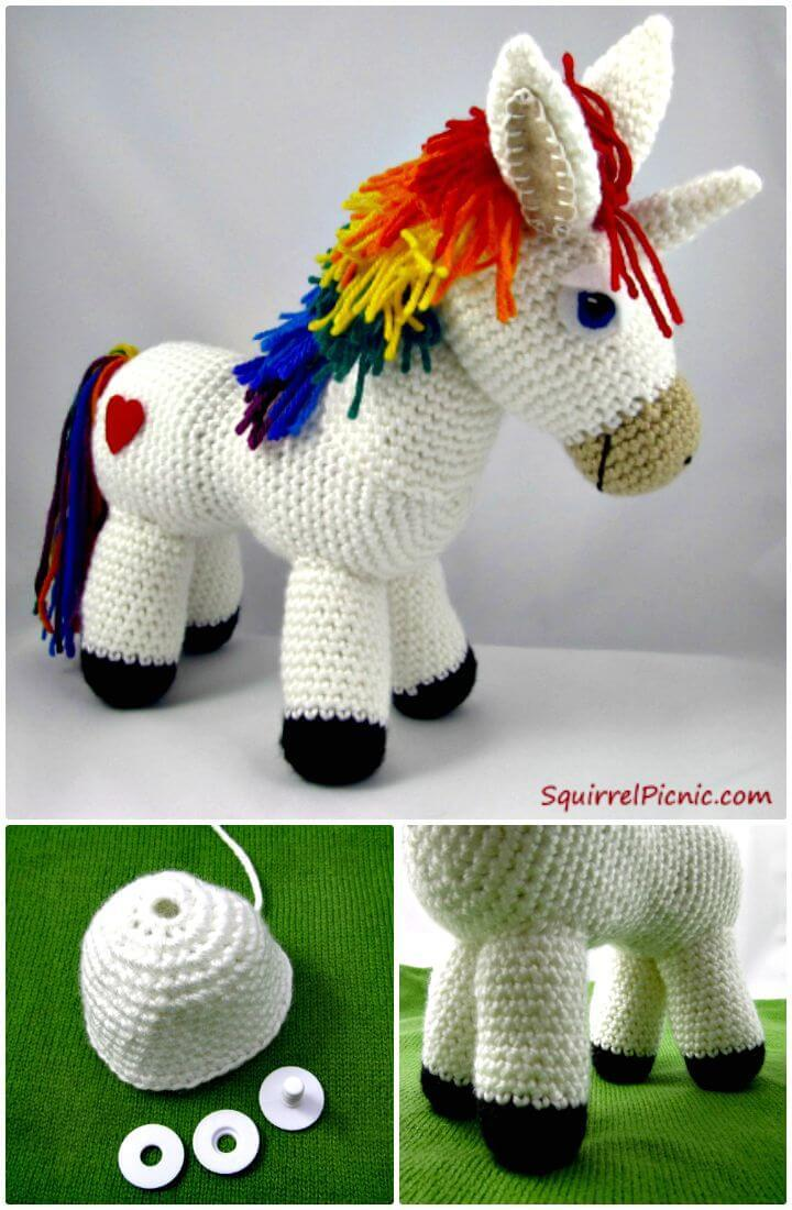 Stylish Free Crochet Rainbow Donkey Pattern