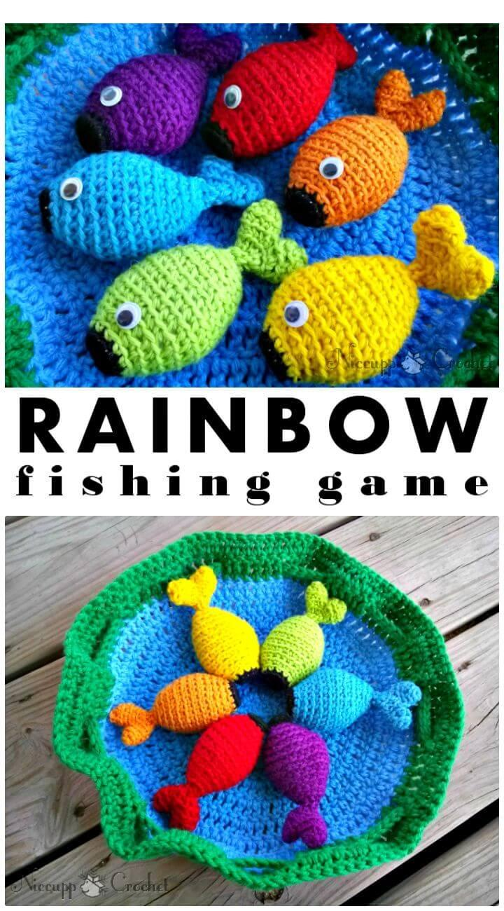Stylish and Easy Free Crochet Rainbow Fishing Game Pattern