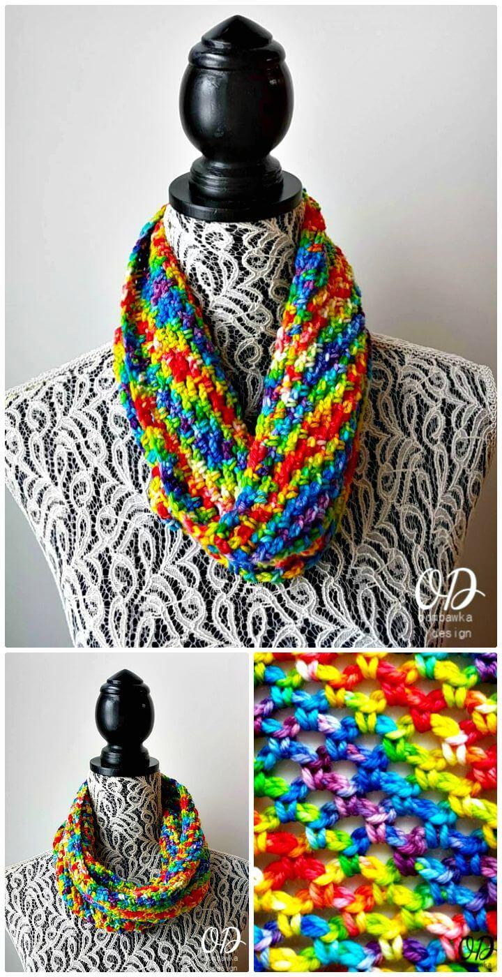 Easiest Crochet Chasing Rainbows Cowl - Free Pattern