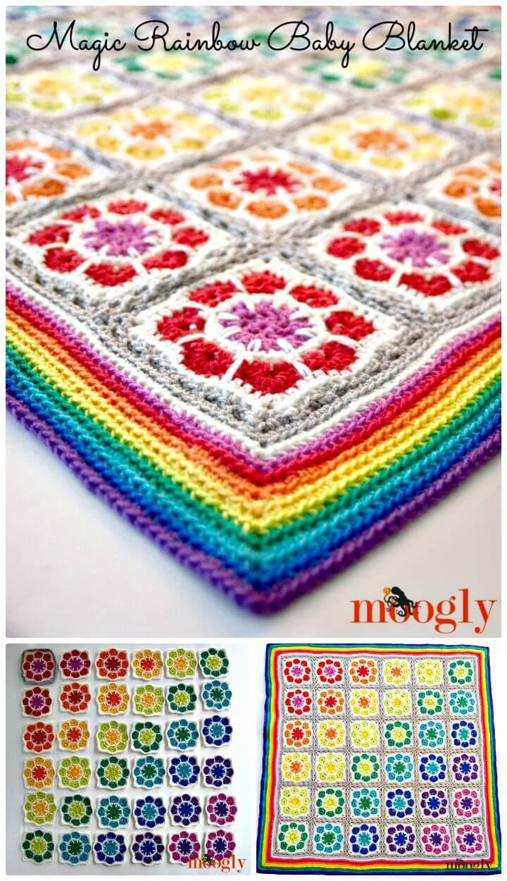 Easiest Free Crochet Magic Rainbow Baby Blanket - Free Pattern