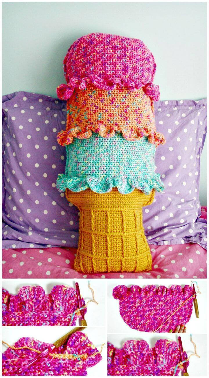 Easy How to Crochet Rainbow Sherbet Throw Pillow - Free Pattern